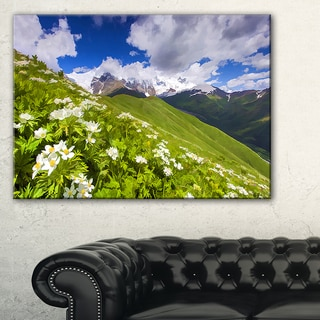 Blossom Flowers in Mountains - Landscape Artwork Canvas