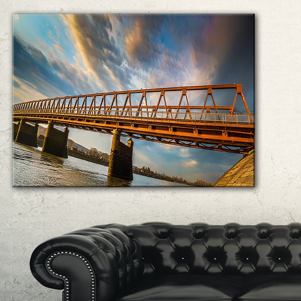 Old Bridge Over River on Cloudy Day - Wooden Sea Bridge Canvas Wall Art