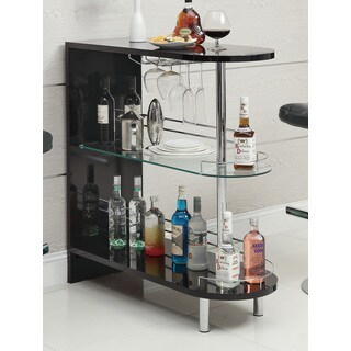 Black Glass/ Metal Bar Table