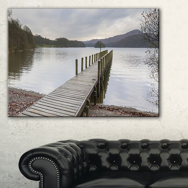 Wooden Jetty on Lake District - Wooden Sea Bridge Canvas Wall Art