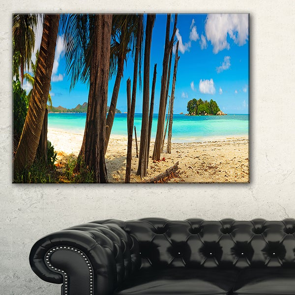Praslin Island Tropical Beach Panorama - Modern Seascape Canvas Artwork