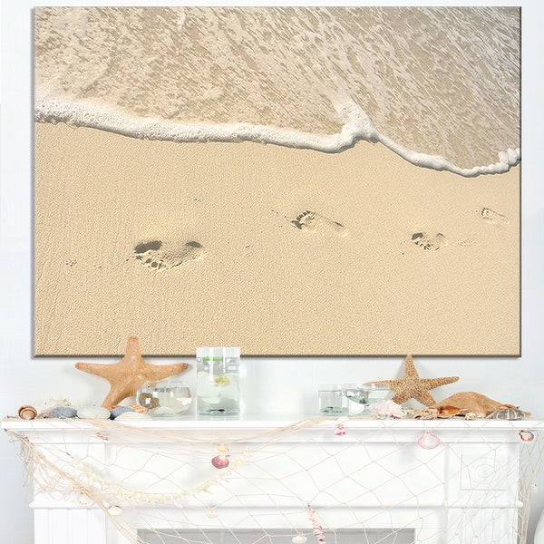 Footprints in Sand on the Beach - Modern Seascape Canvas Artwork