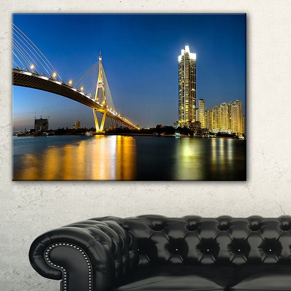 Lit-up Bhumibol Bridge at Dusk - Cityscape Artwork Canvas