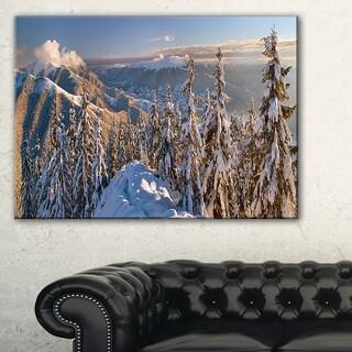 Winter Carpathians Panoramic View - Landscape Wall Art Canvas Print