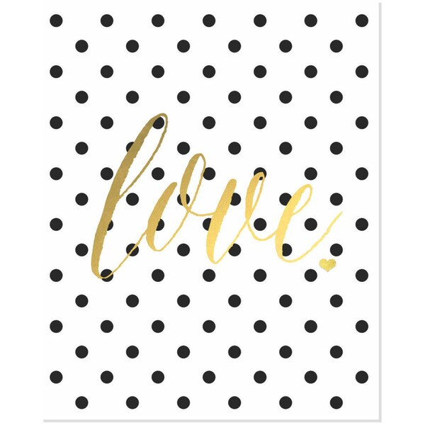 Gold Foil Polka Dot 'Love' Art Print