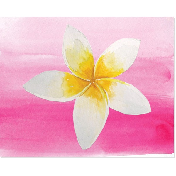 White Flower on Pink Art Print