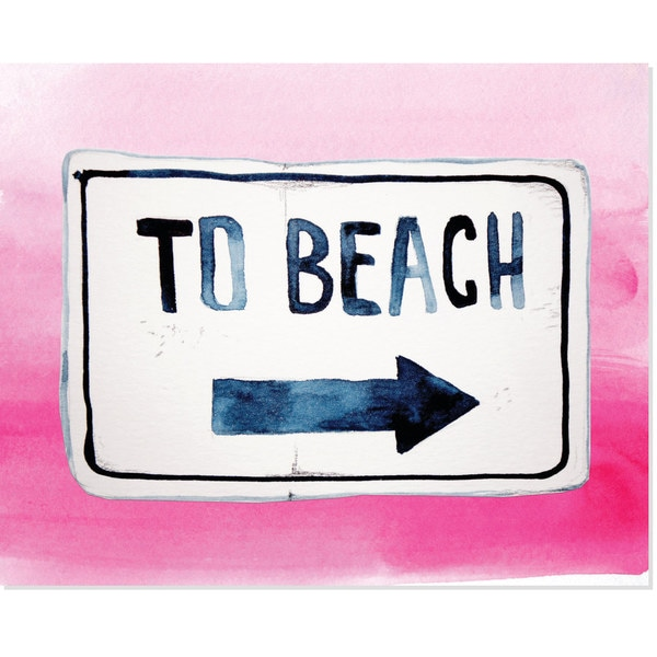 To the Beach in Pink Unframed Paper Art Print