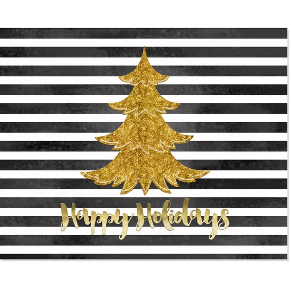 Black & White Stripe Gold Paper Christmas Tree Art Print