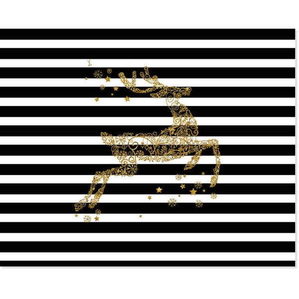 Secretly Designed Glitter Gold Reindeer Art Print