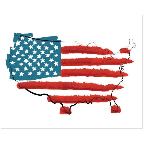 Secretly Designed Red/White/Blue United States Flag Art Print