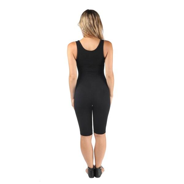 Hadari Women's Criss Cross Bodycon Knee Length Short Jumpsuit