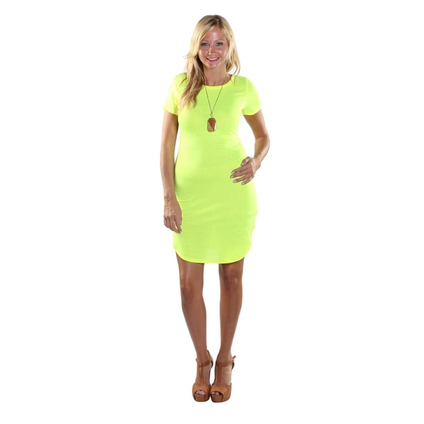 Hadari Women's High Round Neckline Short sleeve Knee High Shift Lime Green Dress