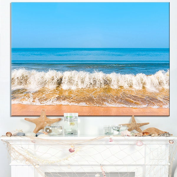 Beautiful Blue Sea and Roaring Waves - Beach Canvas Wall Art