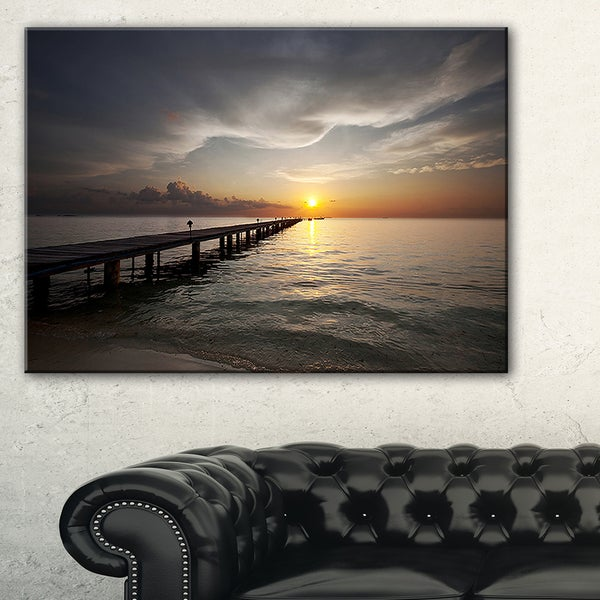 Long Boardwalk into the Sunset Sea - Large Sea Bridge Canvas Art Print