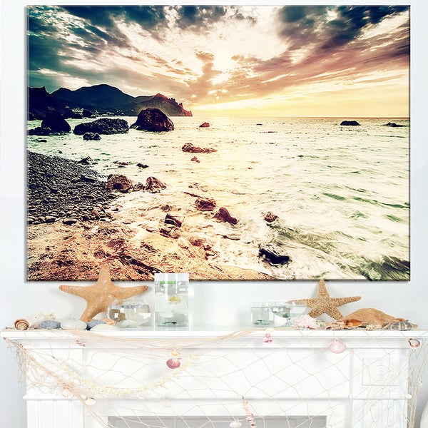 Summer Seascape with Scenic View - Contemporary Seascape Art Canvas