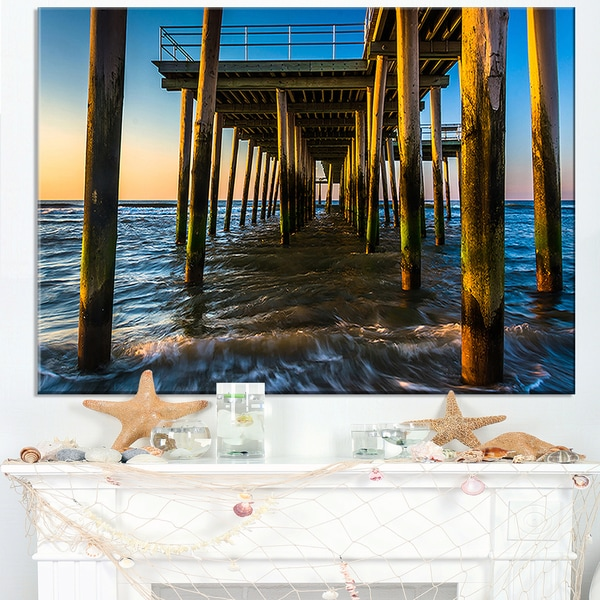 Fishing Pier and Waves at Atlantic Sea - Sea Pier and Bridge Wall Art Canvas