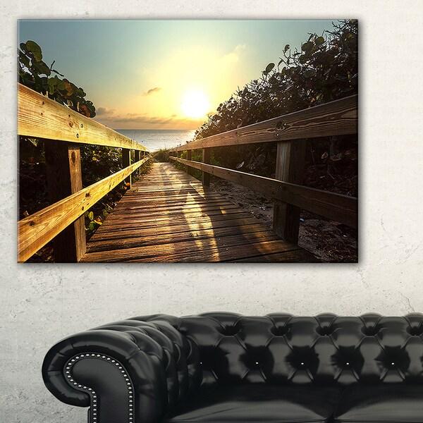 Wood Boardwalk into the Sunset Sea - Large Sea Bridge Canvas Art Print