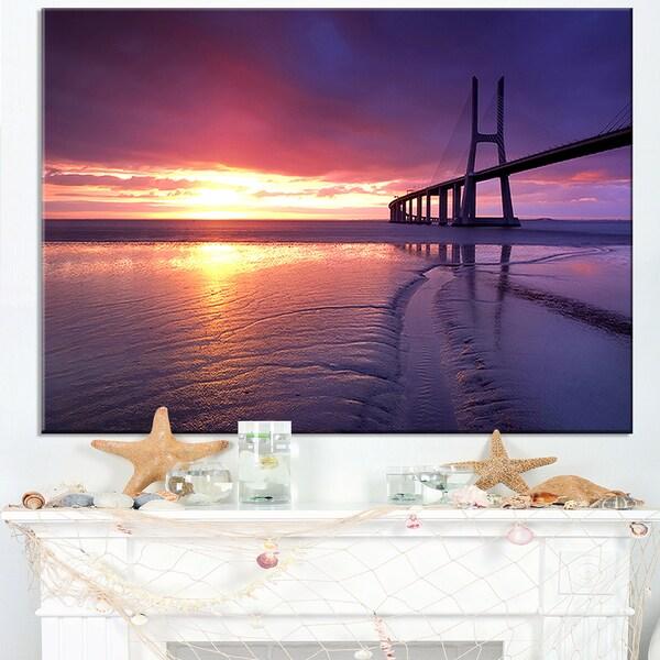 Colorful Vasco Da Gama Bridge - Sea Pier and Bridge Wall Art Canvas