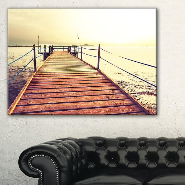 Brown Wooden Boardwalk to the Sea - Large Sea Bridge Canvas Art Print