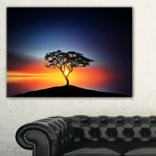 Beautiful Sunset over Lonely Tree - Extra Large Wall Art Landscape