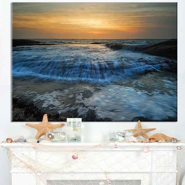 Beach with Rushing White Waves - Modern Beach Canvas Art Print