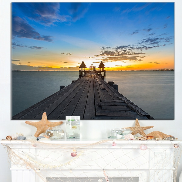 Long Wood Pier Leading to Colorful Sea - Sea Bridge Canvas Wall Artwork