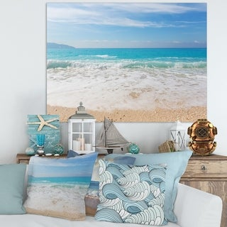 White Waves Kissing Beach Sand - Large Seashore Canvas Print
