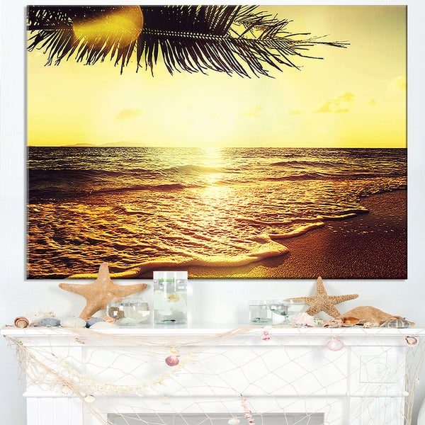 Clear Yellow Tropical Coastline - Large Seashore Canvas Print