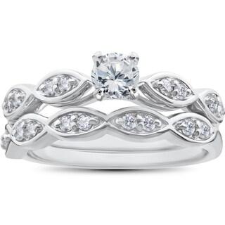 14k White Gold 7/8 ct TDW Round Diamond Engagement Ring & Matching Wedding Band Set (I-J,I2-I3)