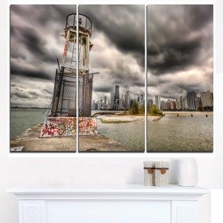 Lake Michigan Navigation Light - Cityscape Canvas print