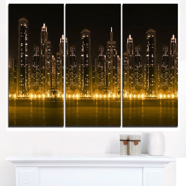 Modern City with Illuminated Skyscrapers - Cityscape Canvas print