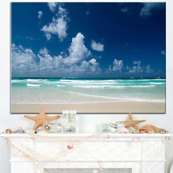 Bright Blue Sky on Winter Day - Large Seashore Canvas Print