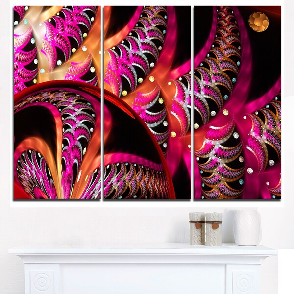 Unique Magenta Fractal Design Pattern - Oversized Abstract Canvas Art