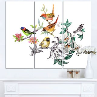 Designart - Tropical Flowers and Birds - Birds Canvas Art Print