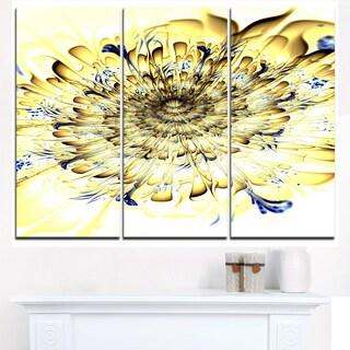 Light Yellow Digital Art Fractal Flower - Large Floral Canvas Art Print