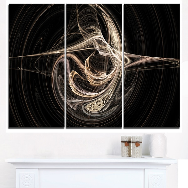 White Abstract Fractal Design in Black - Abstract Art on Canvas