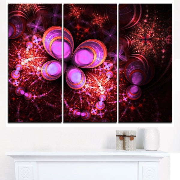 Glowing Purple Pink Fractal Flower - Large Floral Canvas Art Print