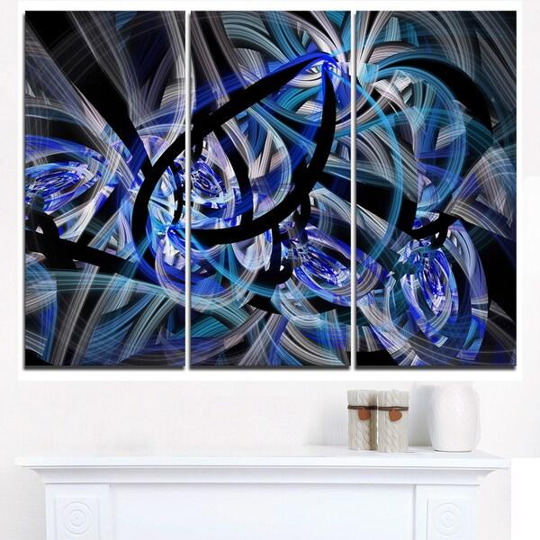 Symmetrical Spiral Blue Flower - Large Floral Canvas Art Print
