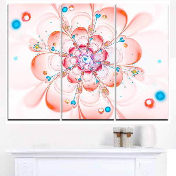 Pink Fractal Flower Petals Close-up - Floral Canvas Artwork Print