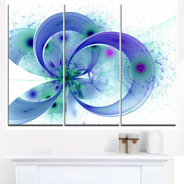 Blue Fractal Flower with Curved Petals - Floral Canvas Artwork Print