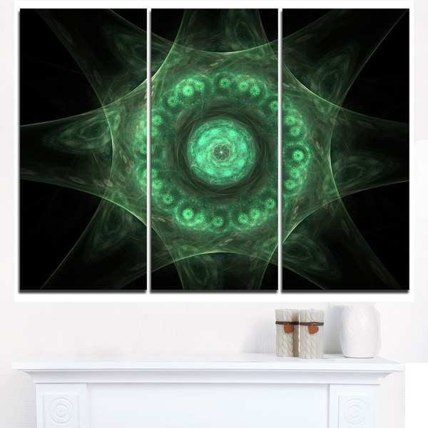 Growing Radial Green Fractal Flower Art - Floral Canvas Artwork Print