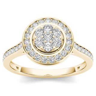 De Couer 10k Yellow Gold 1/2ct TDW Diamond Cluster Halo Engagement Ring (H-I,I2)