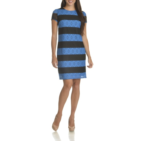 London Times Women's Color Block Polyester Allover Lace Shift Dress