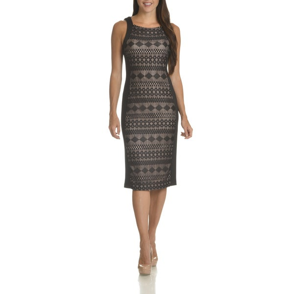 London Times Women's Lace Panel Front Sheath Dress