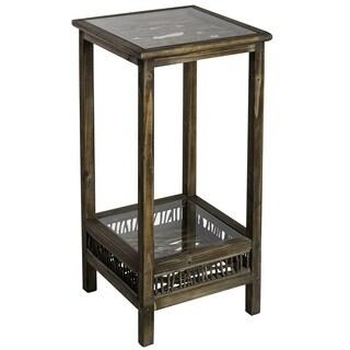 Cooper Classics Ackerman Brown Wood/Glass Pedestal
