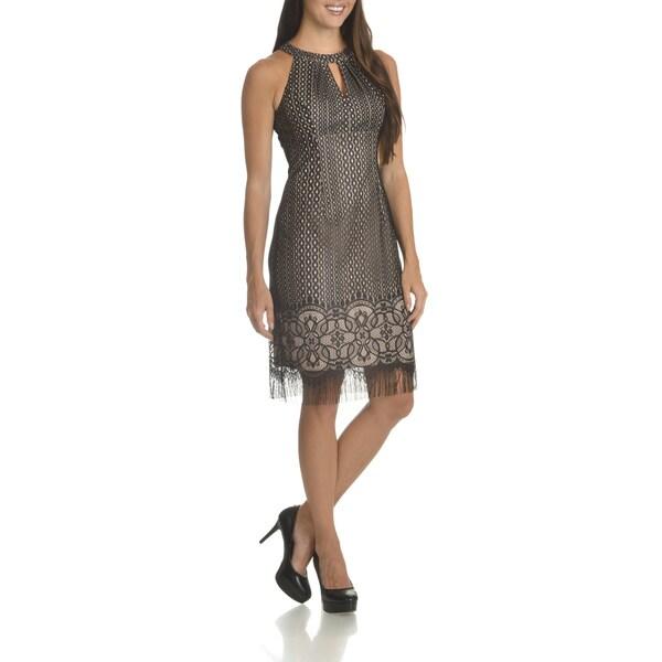 London Times Women's Allover Lace Keyhole-neckline Halter Dress