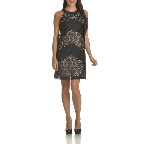 London Times Women's Allover Lace Halter Shift Dress