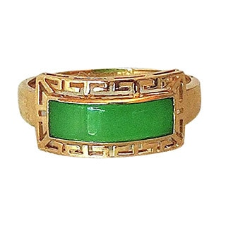 Green Jade and Gold Band Ring-Size 8-1/2