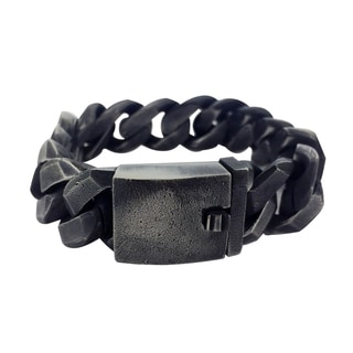 Men's Antique-black-finished Stainless Steel Heavy Curb-style 8.5-inch Link Bracelet
