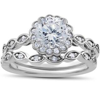 14k White Gold 7/8 ct TDW Vintage Halo Diamond Engagement Ring & Matching Wedding Band Set (I-J,I2-I3)